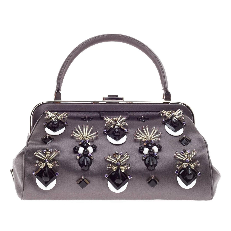 prada vela tote - Prada Raso Ricamo Framed Doctor's Bag Jeweled Satin Medium at 1stdibs