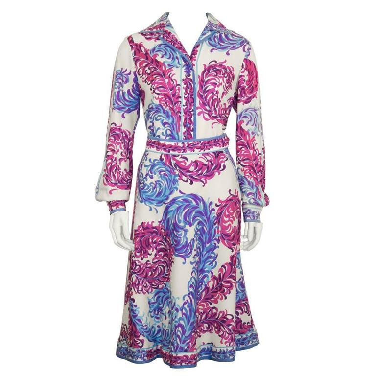 1970's Emilio Pucci Wool Challis Feather Print Set