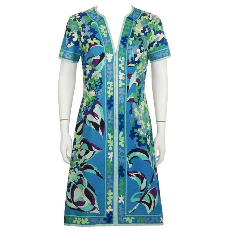 1970's Emilio Pucci Cotton Blue and Green Dress 1