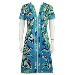 1970's Emilio Pucci Cotton Blue and Green Dress