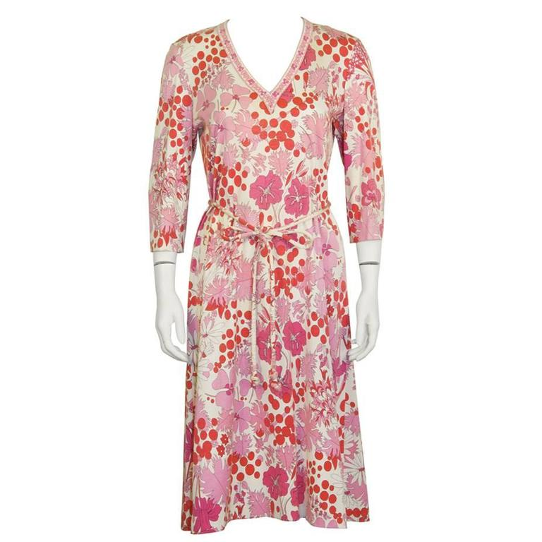 1970's Bessi Pink Printed Cotton Floral Day Dress For Sale