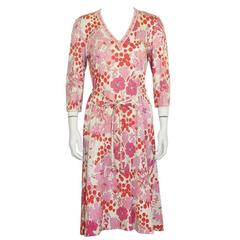 1970's Bessi Pink Printed Cotton Floral Day Dress