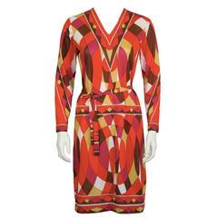 1970's Artemis Red Op Art Kaleidoscope Print Dress