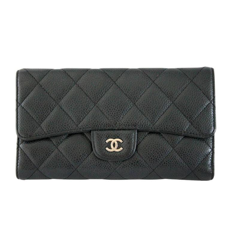 Chanel Black Caviar Long Flap Wallet Shw No 12 At 1stdibs