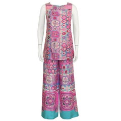 1970's Bessi Pink and Blue Silk Tunic and Pant Set