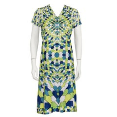 1970's Artemis Green Geometric Print Day Dress