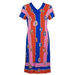 1970's Artemis Lock and Key Pattern Mini Dress
