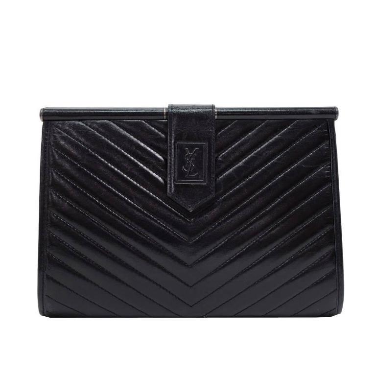 Yves Saint Laurent Ysl Black Quilted Chevron Leather