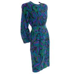 YSL Vintage Dress Saint Laurent Rive Gauche Jewel Tones France 36