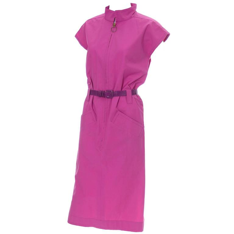 YSL Vintage Pink Dress 2 Belts Yves Saint Laurent Rive Gauche