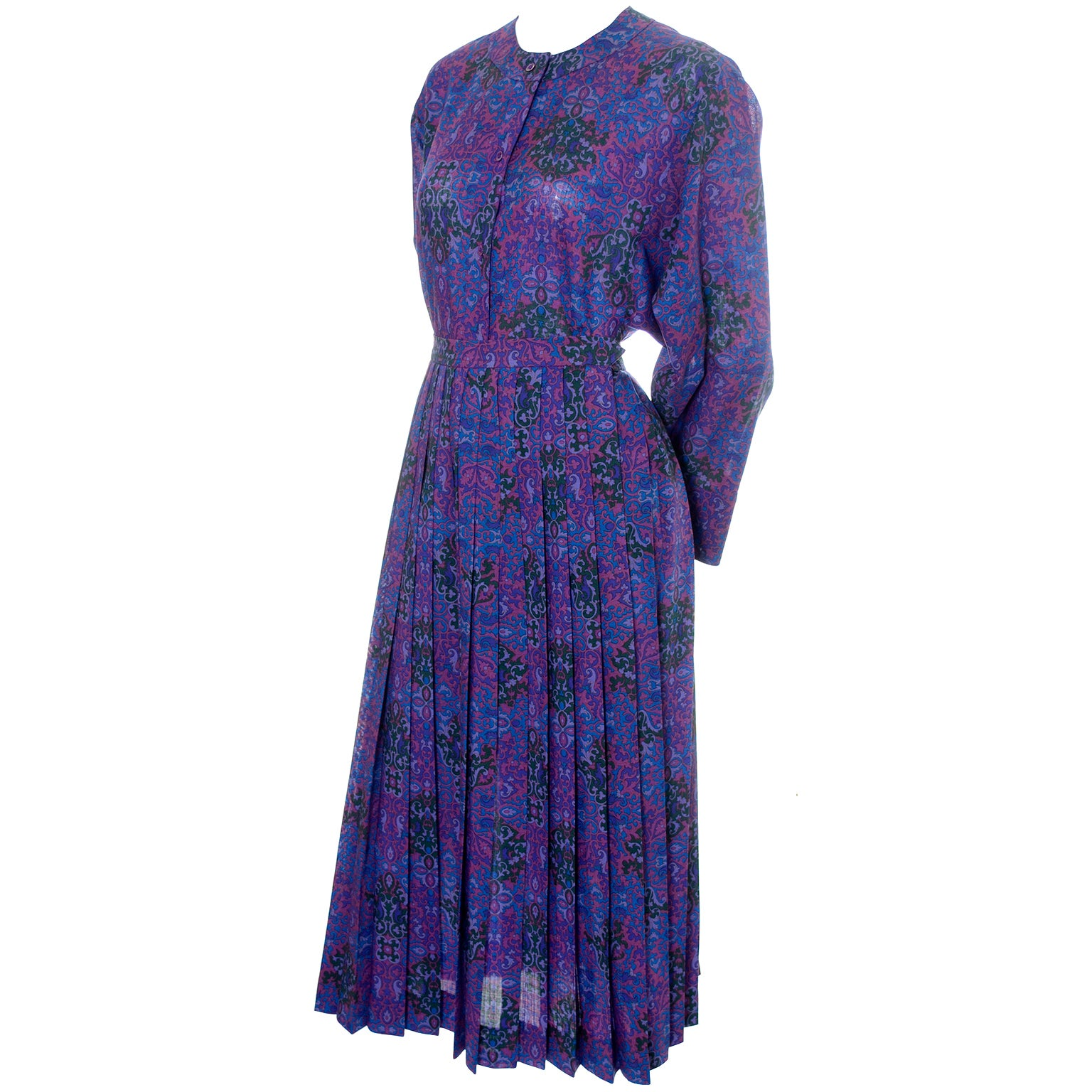 Ysl Yves Saint Laurent 2 Pc Vintage Dress Jewel Tone