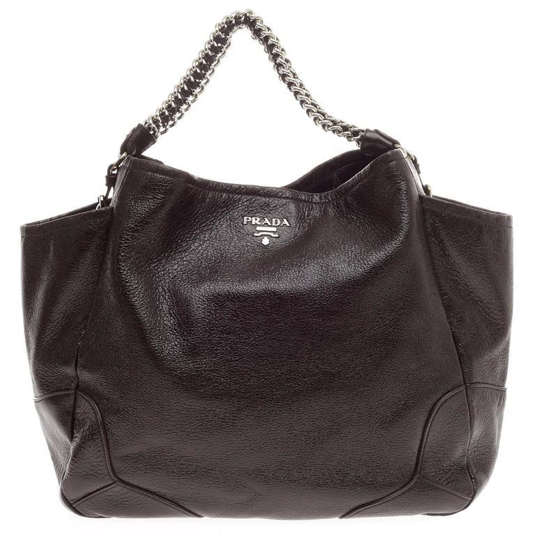 f5b3e574d10d8d ... PursesShoulder Bags. Prada Lux Chain Side Pocket Hobo Cervo Leather  Large For Sale