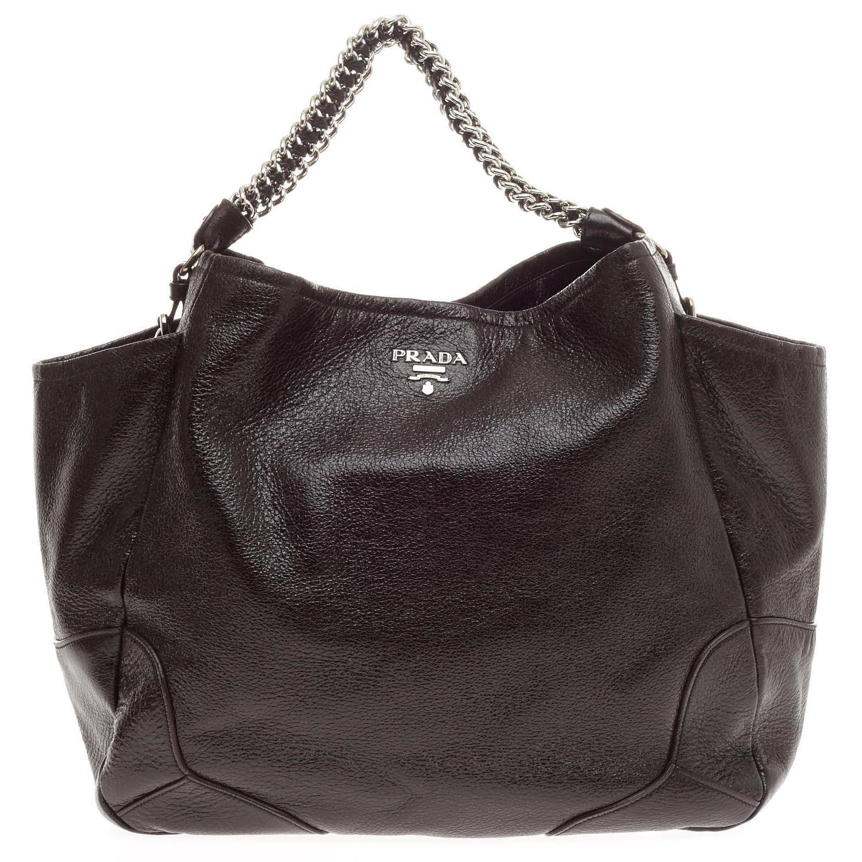 Prada Lux Chain Side Pocket Hobo Cervo Leather Large For Sale at ...