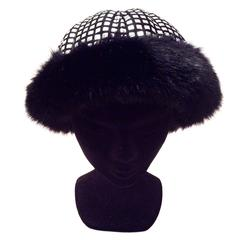 1960's Mod Silver and Black Geometric Hat