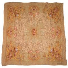 Sorelle Fontana Gold Leopard and Jewel Print Silk Scarf