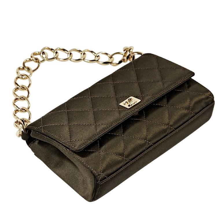 Brown Chanel Quilted Satin Shoulder Bag 1