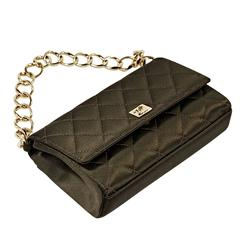 Brown Chanel Quilted Satin Shoulder Bag
