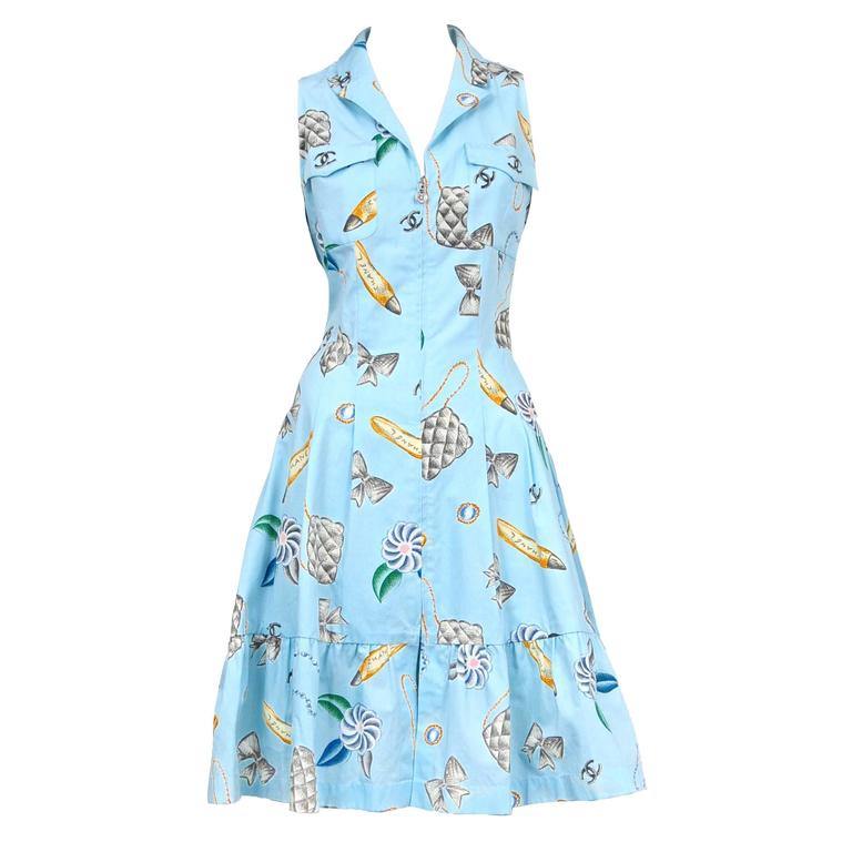 Chanel Blue Cotton Day Dress  1