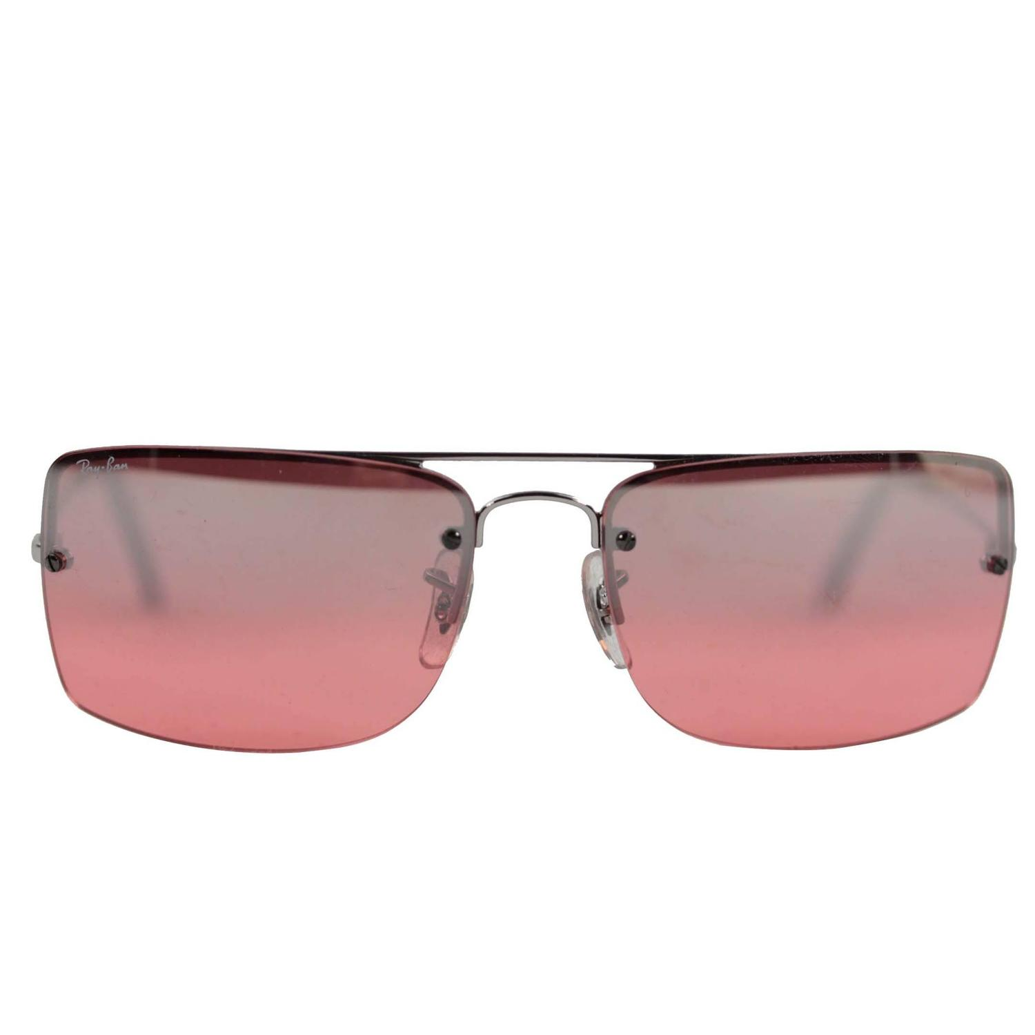 ray ban sunglasses case for sale  ray ban sunglasses rb3158 003/7e 59/16 rimless silver/pink lens eyewear w/ case at 1stdibs