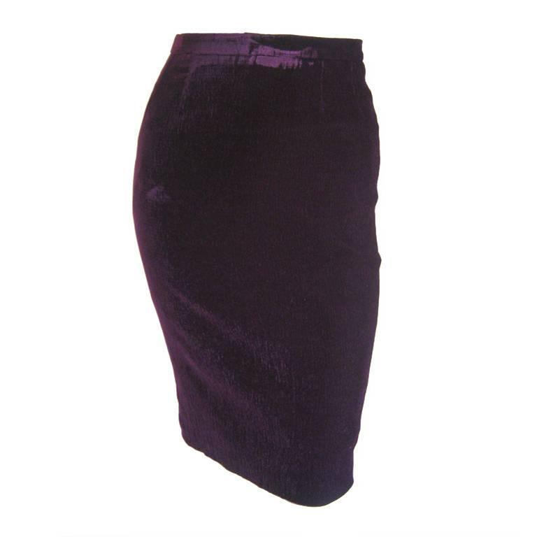 1980s Karl Lagerfeld Purple Velvet Pencil Skirt