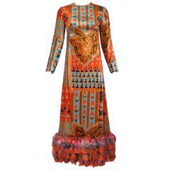 Bill Blass Moorish Print Velvet Panne Gown w/Matching Dyed Feather Trim Ca.1970