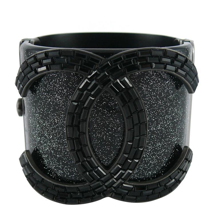 Chanel Rare Massive CC Logo Jet Crystal Cuff Bracelet Spring/Summer 2009 For Sale