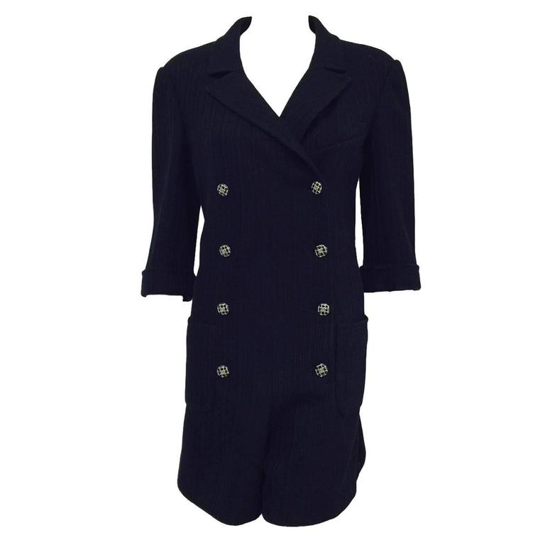 Chanel Navy Cotton Spring Double Breasted Romper With Elbow Length Sleeves