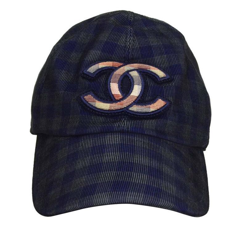 Chanel 2015 Navy/ Green Gingham CC Baseball Cap sz M For Sale