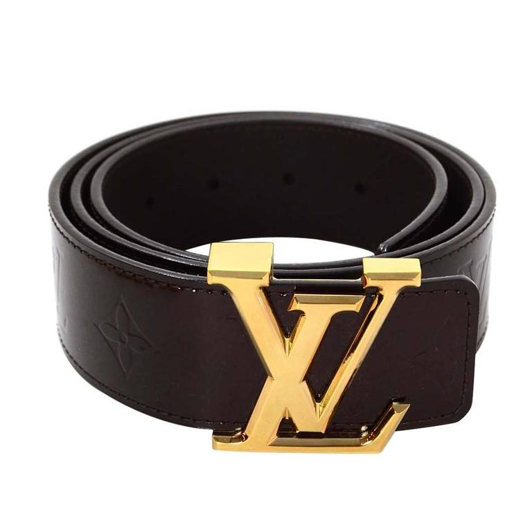 fab6b6244cb5 Louis Vuitton 40mm Vernis Amarante   Goldtone LV Initiales Belt sz 90 For  Sale