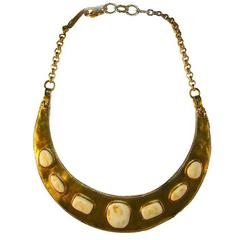 Chanel Hammered Gold & Resin Cabochon Breastplate Choker Necklace 1998