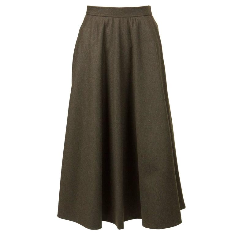 Saint Laurent Khaki Large Wool Skirt