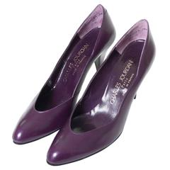 Vintage Charles Jourdan Vintage Shoes Purple Leather Heels AS New Size 8A France