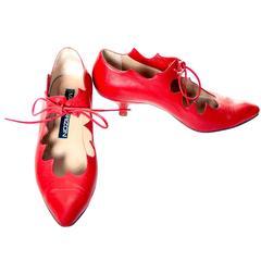 Vintage Maud Frizon Shoes Kitten Heels 1980s Ties Scalloped Italy Size 7