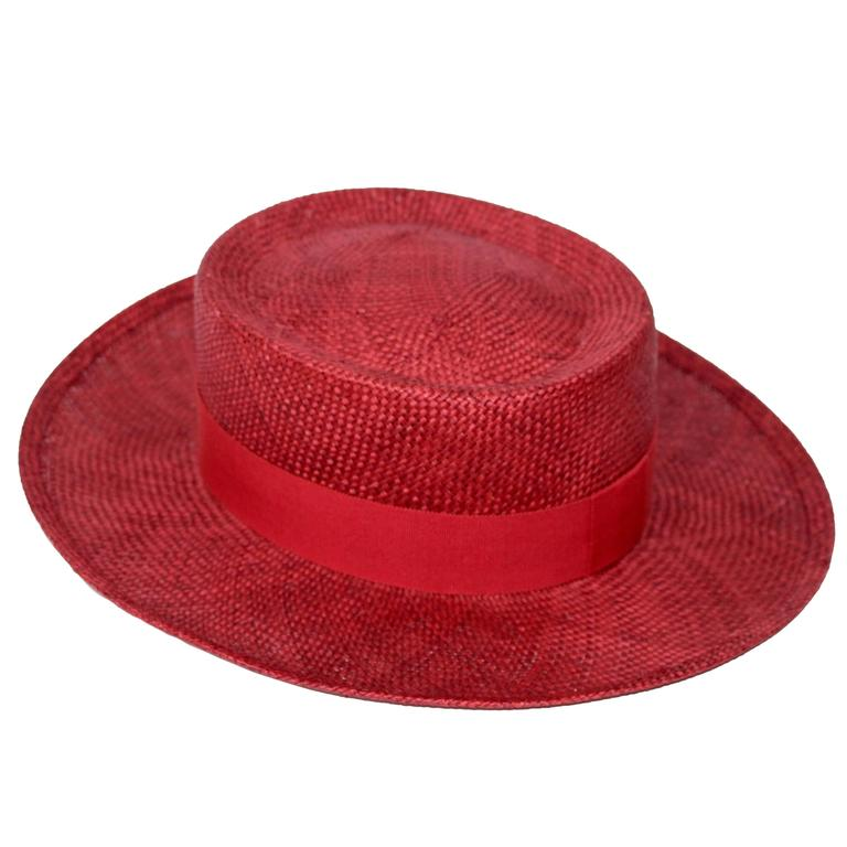 Vintage Chanel Cherry Red Straw Hat at 1stdibs 51406bad3a0
