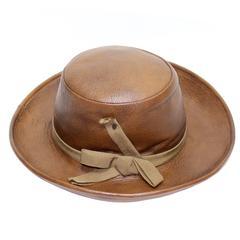 Yves Saint Laurent 1970s Brown Leather Hat Vintage YSL