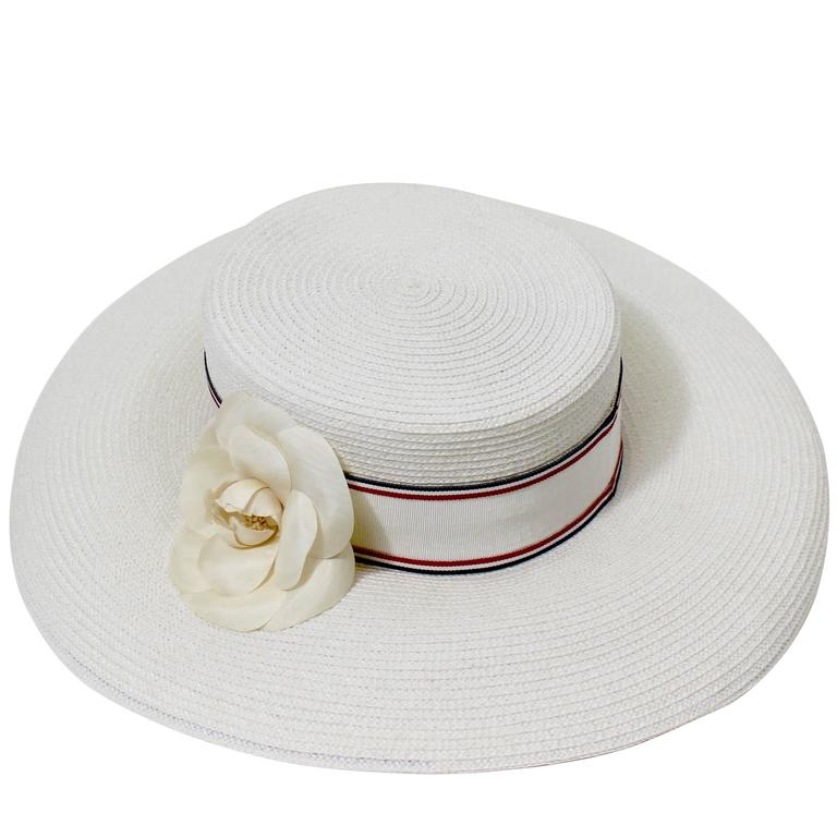 Vintage Chanel White Hat w/ Camellia Flower & Ribbon Trim For Sale