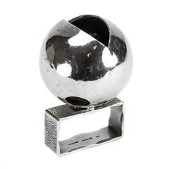 Walter Schluep Wearable Art Sterling Silver Two Finger Ring