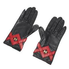 Vintage HERMES black lambskin gloves with golden H logo with red triangle stitch