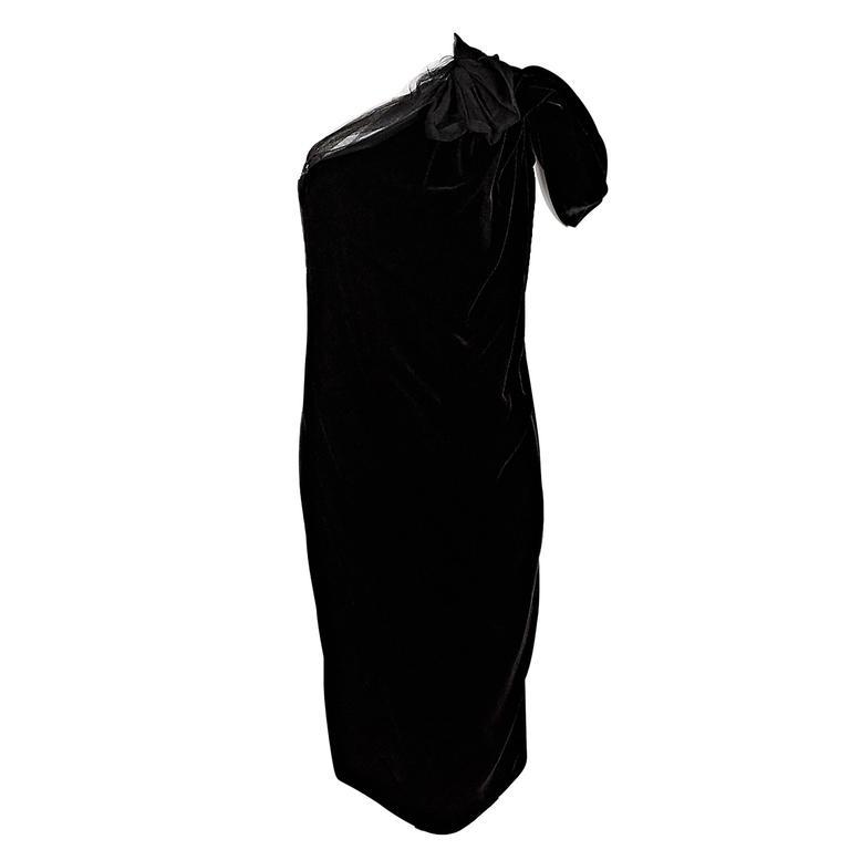 Black Lanvin Velvet One-Shoulder Dress