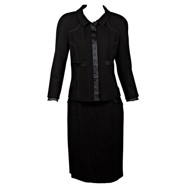 Black Chanel Wool & Silk Skirt Suit Set
