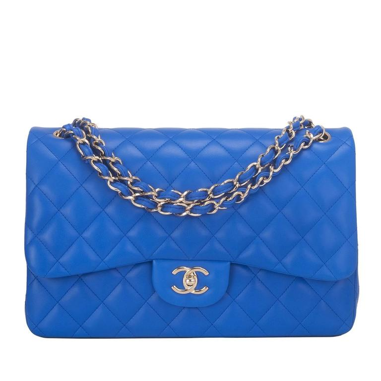 Chanel Blue Quilted Lambskin Jumbo Classic Double Flap Bag For Sale