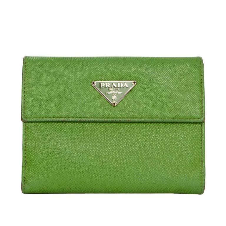 Prada Apple Green Saffiano Short Wallet SHW 1