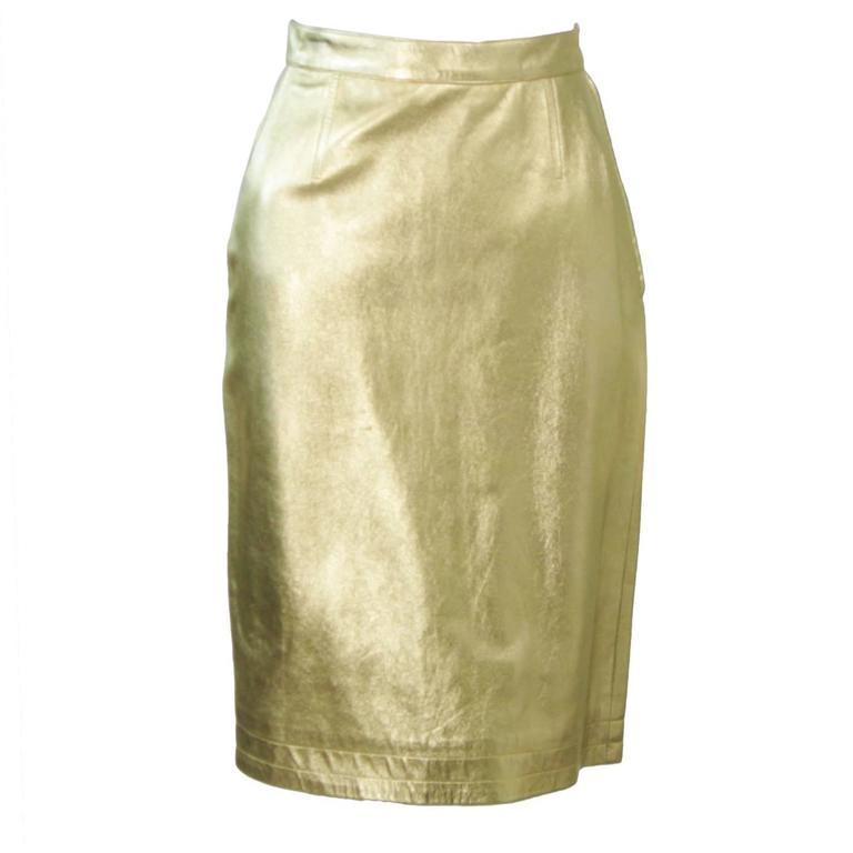 YVES SAINT LAURENT Gold Foil Metallic Leather Pencil Skirt Size 42