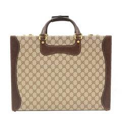 Gucci Rare Vintage Monogram Canvas Leather Unisex Men's Trunk Attache Briefcase