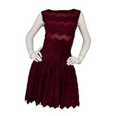 Alaia Burgundy Fit Flare Sleeveless Dress sz 40