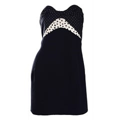Vintage Geoffrey Beene 1990s Black and White Polka Dot Vintage Strapless Dress