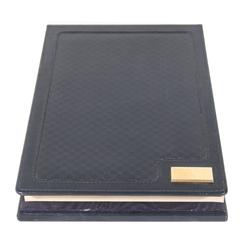 Gucci Italian Blue Microguccissima Leather Desk Notepad Notebook Holder