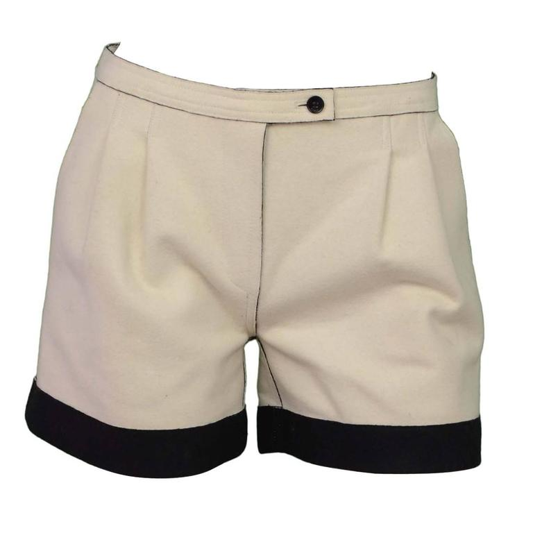 Fendi Cream & Black Felt Shorts sz 36 1