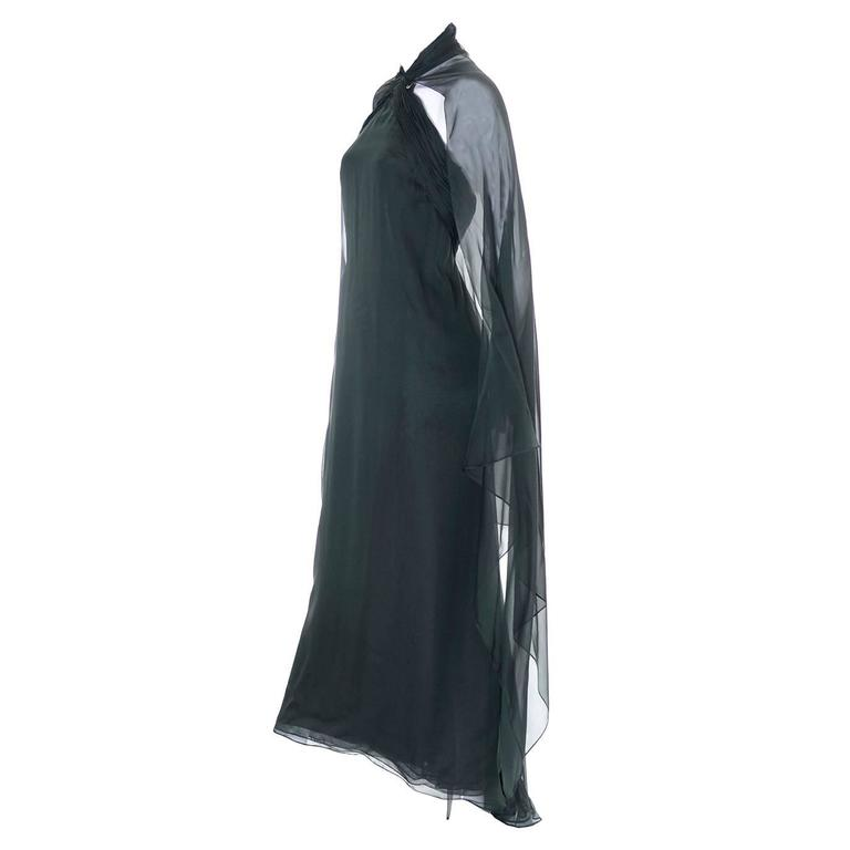 Oscar de la Renta Evening Gown 1990s Vintage Green Silk Chiffon Cape Saks