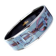 Hermes Enamel Printed Bracelet Concours Etriers PHW Size GM 70